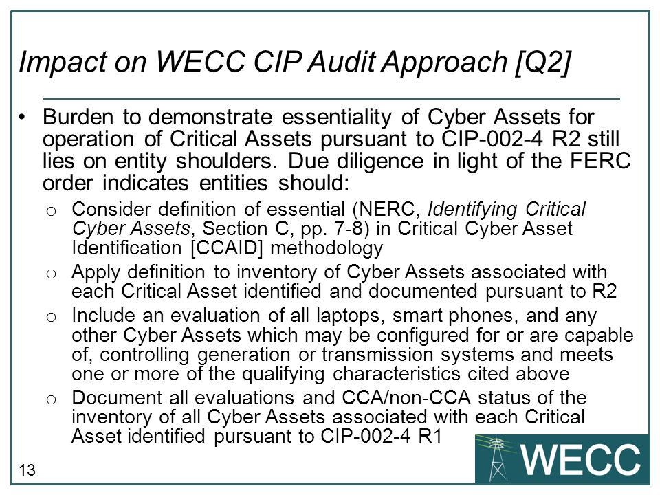 Impact on WECC CIP Audit Approach [Q2]
